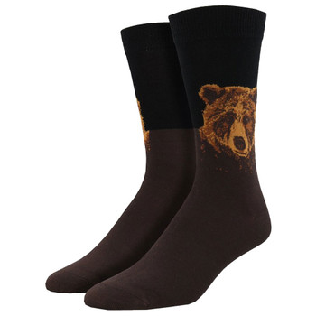 Men's Bamboo Crew Socks Grizzly Bear Black