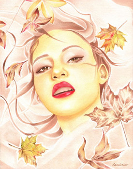 Autumn by Cambria Canvas Giclee Tattoo Art Print Beautiful Woman Fall Leaves