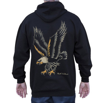 Eagle by Rick Walters Tattoo Art Men's Black Zip Hoodie Jacket