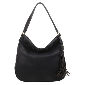 The Andi Braided Stitch Hobo Black Purse Bohemian Tote Shoulder Bag
