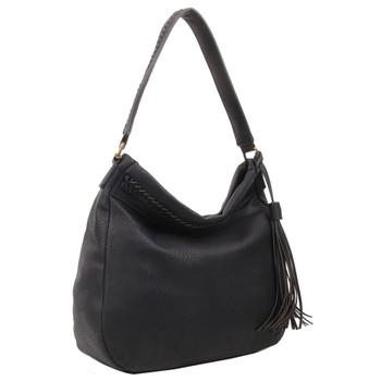The Andi Braided Stitch Hobo Black Purse Bohemian Tote Shoulder Bag