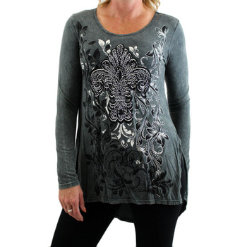 Women's Vocal Mineral Wash Tunic Top with Floral Design