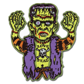 Love Dead Frankenstein Monster Patch Embroidered Iron On Applique