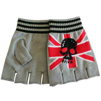 Union Jack Skull Grey Knitted Fingerless Gloves