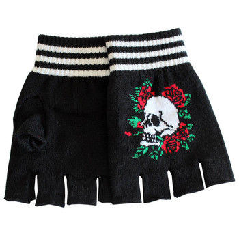 Skull and Roses Black Knitted Fingerless Gloves