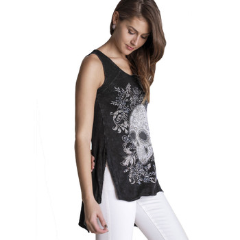 Women's VOCAL Skull Hi-Lo Black Tank Top with Crystal Rhinestone Detailing