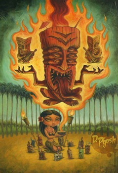 Honolulu Voodoo by P'gosh Retro Hawaiian Tiki Classic Tattoo Art Print