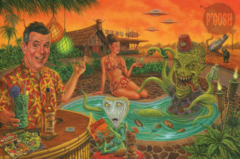 Invasion of the Tiki Snatchers by P'gosh Retro Alien Monster Classic Tattoo Art Print