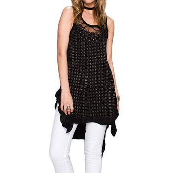 Women's VOCAL Long Black Tunic Tank Top Shirt With Lace and Stud Detailing
