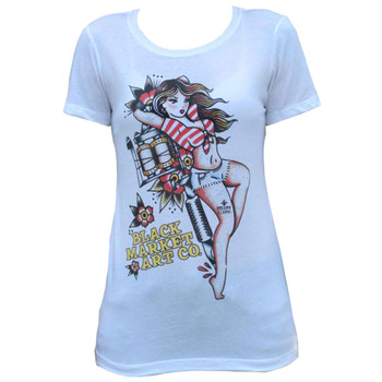 Tattoo Tradition by Susana Alonso Women's White Tee Shirt Pin Up Girl
