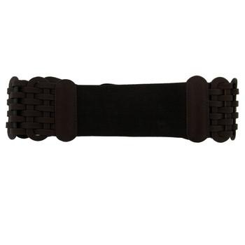 Dark brown wide belt.