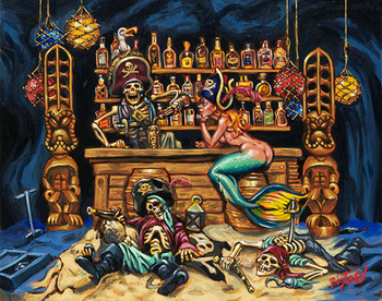 A Pirates Life by Big Toe Canvas Giclee Tattoo Art Print Retro Buccaneer Mermaid