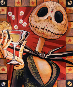 Jack Celebrates the Dead by Mike Bell Canvas Giclee Tattoo Art Print Skellington