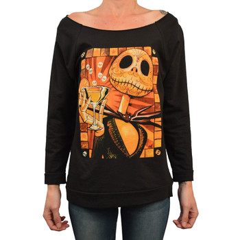 Jack Celebrates the Dead by Mike Bell Women's Tattoo Art Oversized Unfinished Sweatshirt
