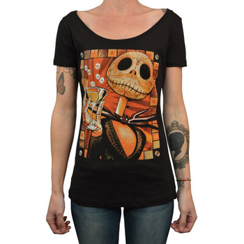 Jack Celebrates the Dead by Mike Bell Women's Tattoo Art Scoop Neck Tee Shirt