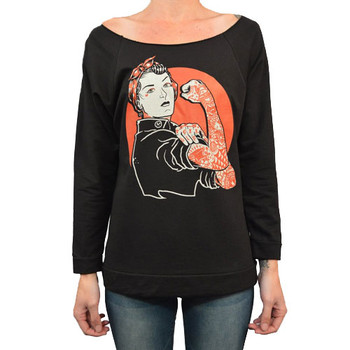 We Can Do It by Adi Women's Tattoo Art Oversized Unfinished Sweatshirt Rosie the Riveter