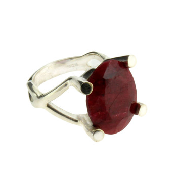 Oval Red Raw Ruby Faceted Cut Sterling Silver Ring