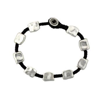 Silver Alloy Bracelet Wrist Jewelry Waxed Linen Wristband