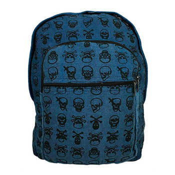 Blue Cotton Skull and Crossbones Backpack