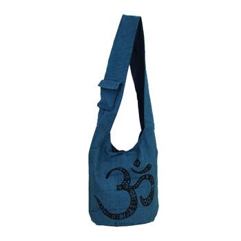 Large OM Design Blue Cotton Sling Bag Purse