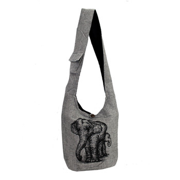 Gray Cotton Sling Bag Purse with an Elephant Design