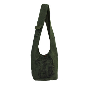 Dark Green Cotton Sling Bag Purse with an Elephant Design