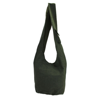 Dark Green Cotton Sling Bag Purse with an Elephant Design