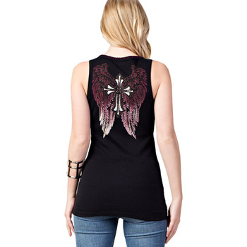 Backside of Vocal black tank top shirt with cross.