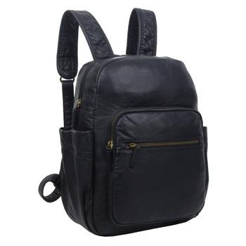 The Marie Backpack Purse Black Vegan Leather Travel Bag