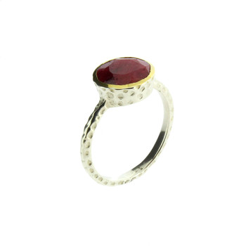 Round Red Raw Ruby Faceted Cut Sterling Silver Ring Gold Plated Edge