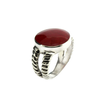 Red Round Coral Sterling Silver Ring