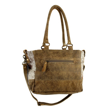 Brown Cowhide Fur Leather Patchwork Shoulder Bag