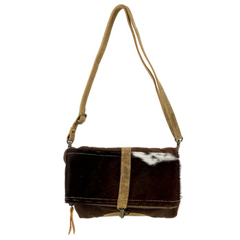 Small Brown Cowhide Fur Crossbody Cotton Recycled Canvas Bag Purse
