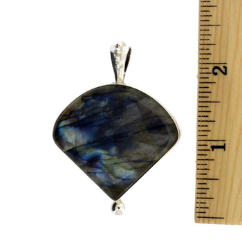 Handmade sterling silver Labradorite pendant with ruler.