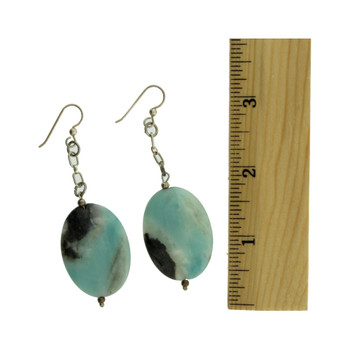Jasper Agate sterling silver dangle earrings.