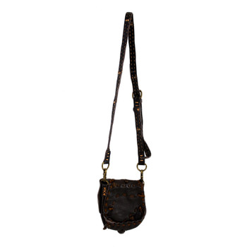 Small Handmade Brown Cowhide Leather Crossbody Bag with Stone