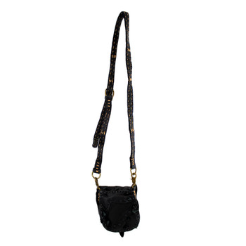 Small Handmade Black Cowhide Leather Crossbody Bag with Stone