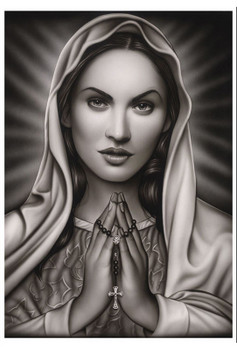 Praying Mary by Spider Tattoo Art Print Adrian Castrejon