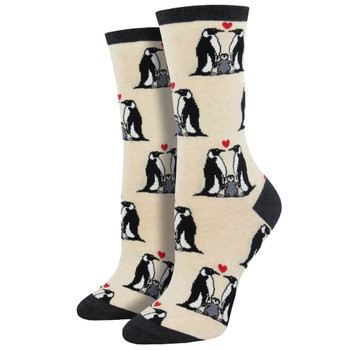 Women's Crew Socks Penguin Love Ivory Heather