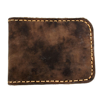 Men's Brown Soft Leather Bi-Fold Wallet with Edge Stitching