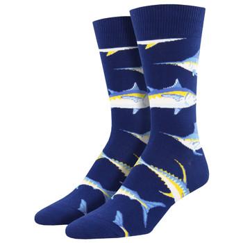 Men's Crew Socks Just For Sport Game Fish Navy Blue