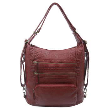 The Lisa Convertible Backpack Crossbody Purse Burgundy
