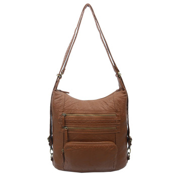 The Lisa Convertible Backpack Crossbody Purse Brown