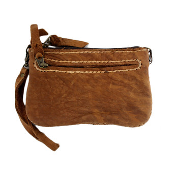 Small Soft Tan Leather Wristlet or Clutch Purse