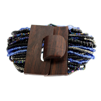 Black and Blue Bali Beaded Stretch Bracelet Glass Beads Wood Buckle