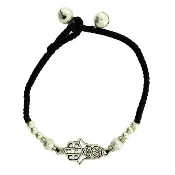 Hamsa and Silver Alloy Beaded Bracelet Waxed Linen Wristband