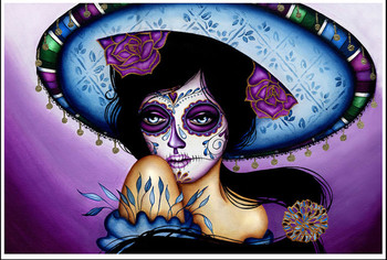 Blue Sombrero by Cat Ashworth Tattoo Art Print Sugar Skull Mask