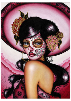 Pink Sombrero by Cat Ashworth Tattoo Art Print Sugar Skull Mask