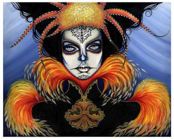 Say No More by Cat Ashworth Tattoo Art Print Sugar Skull Mask