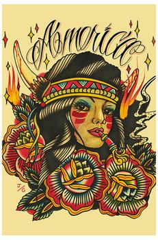 America by Johnny Gargan Tattoo Art Print Native American Indian